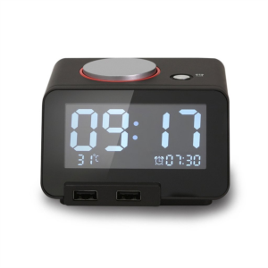 Homtime digitalna alarm ura črna/dual USB za polnjenje