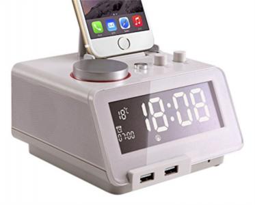 Homtime digitalna alarm ura bela SD/Bluetooth/FM/Aux/Lightning docking