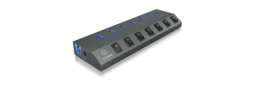 Icybox 7 port sa punjačem i punjačem IB-HUB1701-U3 s USB-C priključkom