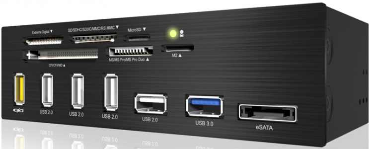 "Icy Box IB-867-B 5,25"" multiport panel in čitalec kartic"