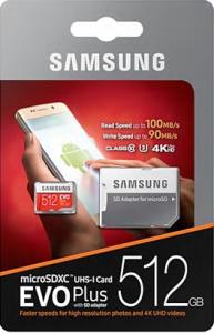 Samsung 512GB EVO + MICRO SDXC UHS-I klasa10 U3 4K UltraHD 100MB / s MEMORY CARD + SD ADAPTER