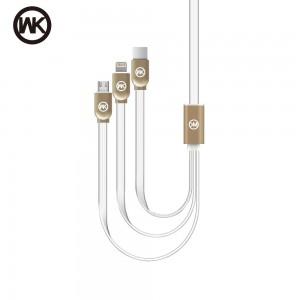 WK dizajn kabel 3v1 (USB-C, Micro-USB, Lightning)