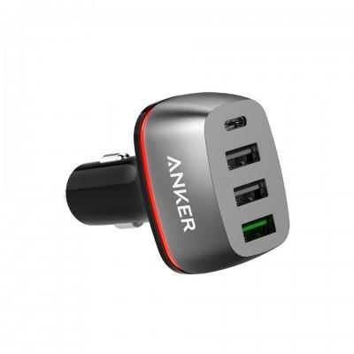 Anker PowerDrive + 4 54W QC 3.0 auto punjač crna